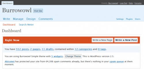 The atrocity that is the WordPress 2.5 dashboard